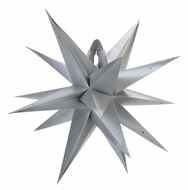 """24"""" Moravian Glossy Silver Multi-Point Paper Star Lantern Lamp, Hanging (Light Not Included)"""