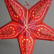 "24"" Red Shikhara Glitter Paper Star Lantern, Hanging (Light Not Included)"