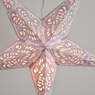 "24"" White Grey Peacock Paper Star Lantern, Hanging (Light Not Included)"