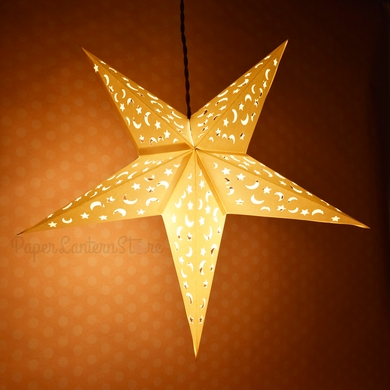 White Star Moon Cut-Out Paper Star Lantern, Hanging (Light Not