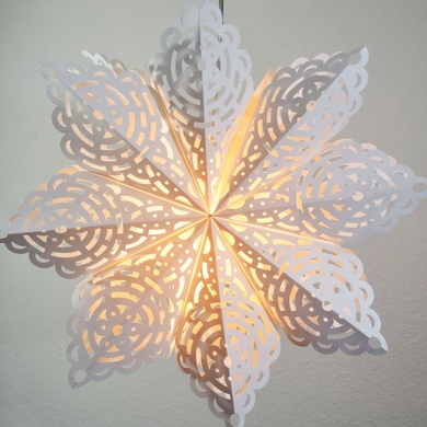 """24"""" White Winter Frost Snowflake Paper Star Lantern, Hanging (Light Not Included)"""