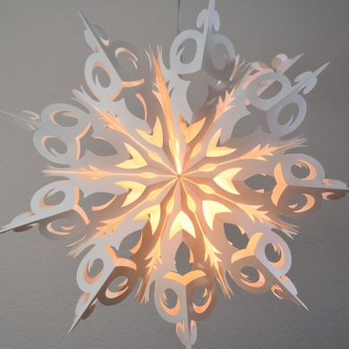 """24"""" White Winter Frozen Snowflake Paper Star Lantern, Hanging (Light Not Included)"""