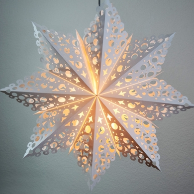 "24"" White Winter Solstice Snowflake Paper Star Lantern, Hanging (Light Not Included)"