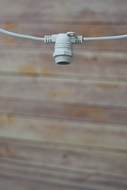 (Cord Only) 25 Socket Outdoor Commercial DIY String Light 29 FT White Cord w/ E12 C7 Base, Weatherproof