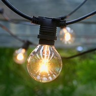 25 Socket Outdoor Commercial String Light Set, G40 Clear Globe Bulbs, 29 FT Black Cord w/ E12 C7 Base, Weatherproof