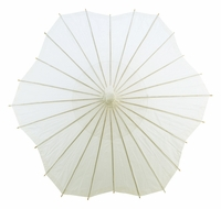 "32"" Beige / Ivory Paper Parasol Umbrella, Scallop Shaped"