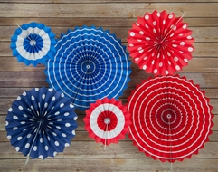 4th of July Red, White and Blue Paper Flower Backdrop Party Wall Decoration Combo Kit