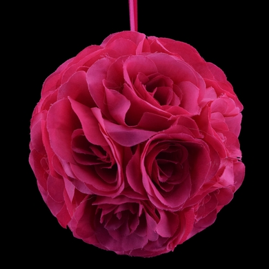 """6"""" Fuchsia / Hot Pink Rose Flower Pomander Small Wedding Kissing Ball for Weddings and Decoration"""