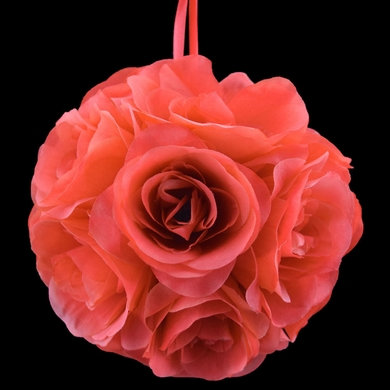 """6"""" Roseate/Pink Coral Rose Flower Pomander Small Wedding Kissing Ball for Weddings and Decoration"""
