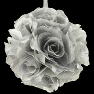 "6"" Silver Rose Flower Pomander Small Wedding Kissing Ball for Weddings and Decoration"