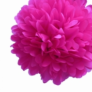 "8"" Fuchsia Tissue Paper Pom Pom Flowers, Hanging Decorations (4 PACK)"