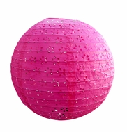 "BLOWOUT 8"" Round Eyelet Lace Look Paper Lantern - Fuchsia"