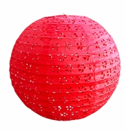 "8"" Round Eyelet Lace Look Paper Lantern - Red"