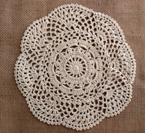 "8"" Round Crochet Lace Doilies Placemats, Handmade Cotton - Beige (2 PACK)"