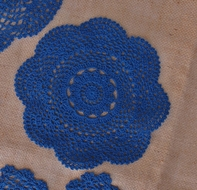 "BLOWOUT 8"" Round Crochet Lace Doilies Placemats, Handmade Cotton - Dark Blue (2 PACK)"