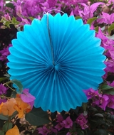 "8"" Turquoise Tissue Paper Flower Rosette Fan Decoration (6 PACK)"