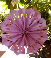 "12"" Pink Pinwheel Paper Flower Decoration - (3 PACK)"