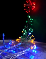 125 Indoor/Dry Outdoor Multicolor RGB LED Mini String Lights, 8.5FT Clear Cord