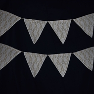 Burlap and Lace Triangle Flag Pennant Banner (12 Ft)