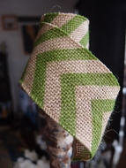 Burlap Fabric Wrap Roll w/ Apple Green Chevron Pattern (2.4 x 6 Ft)