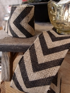 Burlap Fabric Wrap Roll w/ Black Chevron Pattern (2.4 x 6 Ft)
