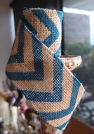 Burlap Fabric Wrap Roll w/ Dark Blue Chevron Pattern (2.4 x 6 Ft)
