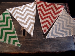 Burlap w/ Multi-Color Chevron Pattern Triangle Flag Pennant Banner (12 Ft)