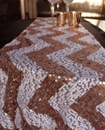 BLOWOUT Chevron Sequin Table Runner - Copper Pink & White (12 x 108)