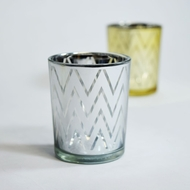 BLOWOUT Chevron Votive Tea Light Glass Candle Holder - Silver (2.5 Inches) (6 PACK)