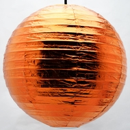 Copper Round Even Ribbing Paper Lanterns