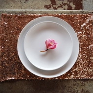 Copper Sequin Rectangular Table Placemat (12 x 17 Inches)