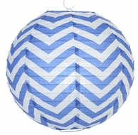 "14"" Dark Blue Chevron Paper Lantern, Even Ribbing, Hanging (Light Not Included)"