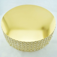 Designer Crystal Gold Stainless Steel Cake Stand - 18 x 5.5 Inch Round, Bejeweled