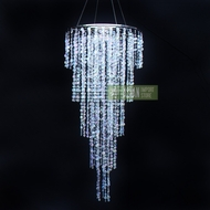 Designer Crystal Stainless Steel Chandelier - 2 x 4 FT Long Round Single-Tier, Bejeweled