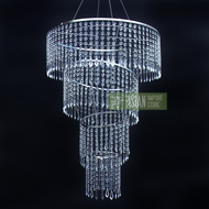 Designer Crystal Stainless Steel Chandelier - 24 x 45 Inch Long Round 4-Tier, Bejeweled
