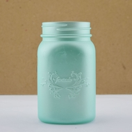 Fantado Regular Mouth Frosted Frozen Blue Mason Jar w/ Handle, 16oz / 1 Pint