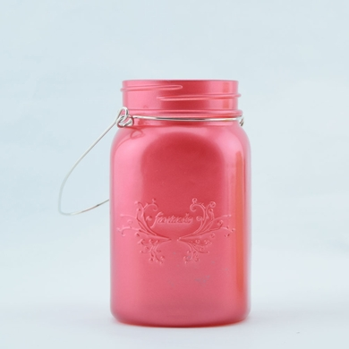 Fantado Regular Mouth Frosted Fuchsia / Hot Pink Mason Jar w/ Handle, 16oz / 1 Pint