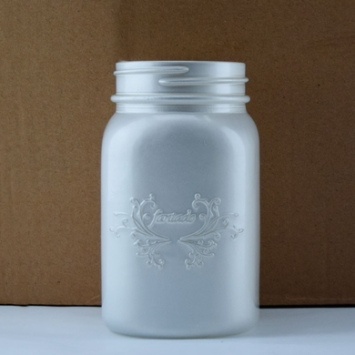 Fantado Wide Mouth Frosted Pearl White Mason Jar w/ Handle, 32oz