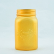Fantado Regular Mouth Frosted Yellow Gold Mason Jar w/ Handle, 16oz / 1 Pint
