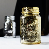 Fantado Regular Mouth Gold Mercury Glass Mason Jar, 16oz / 1 Pint