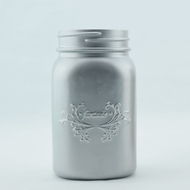 BLOWOUT Fantado Wide Mouth Matte Silver Mason Jar w/ Handle, 32oz