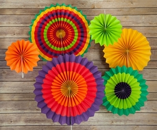 Fiesta Paper Flower Pinwheel Backdrop Party Wall Decoration Combo Kit
