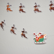 Full Color Santa's Reindeer Sleigh Christmas Holiday Party Paper Garland Banner (13FT)