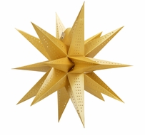 "24"" Moravian Glossy Gold Multi-Point Paper Star Lantern Lamp, Hanging (Light Not Included)"