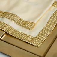 Gold Diamond Sequin Concave Mesh Table Runner (12 x 72)