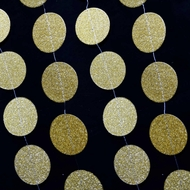 Gold Glitter Round Circle Paper Garland Banner (10FT)