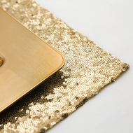 Gold Sequin Rectangular Table Placemat (12 x 17 Inches)