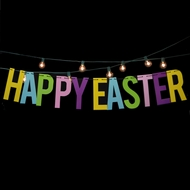 Happy Easter Colorful Party Paper Letter Pennant Banner (4FT-9FT)