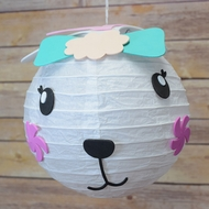 "BLOWOUT 8"" Paper Lantern Animal Face DIY Kit - Rabbit / Bunny (Kid Craft Project)"
