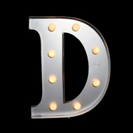 Marquee Light Letter 'D' LED Metal Sign (10 Inch, Battery Operated)